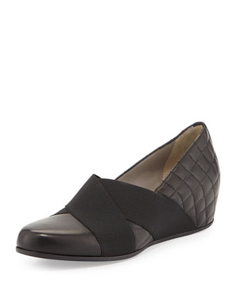 Unice Quilted Leather Wedge Pump, Black