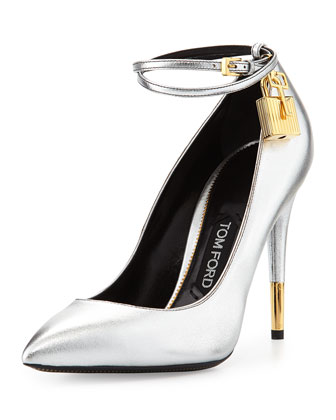 Metallic Ankle-Lock Pump, Silver