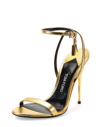 Metallic Ankle-Lock Sandal, Gold
