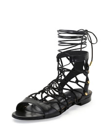 Chain-Link Lace-Up Sandal, Black