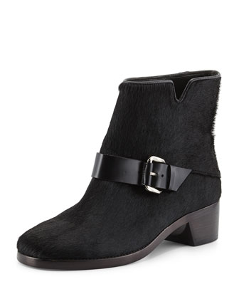 Charlotte Calf Hair Ankle Boot, Black