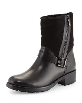 Saphire Side-Zip Shearling-Lined Ankle Boot, Black