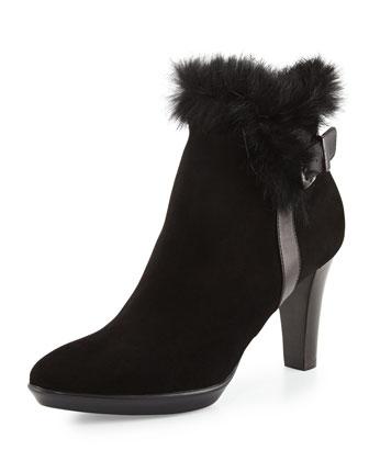 Rebecca Faux-Fur Buckle Boot, Black