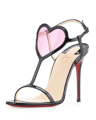 Cora Heart Red Sole Sandal, Black/Pink