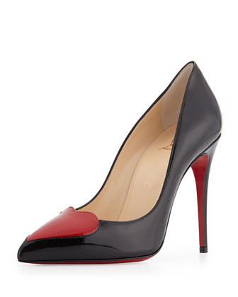 Cora Patent Heart Red Sole Pump, Black/Red