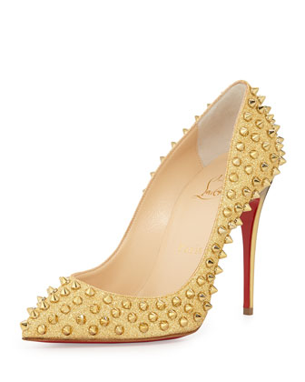 Follies Spike-Studded Glitter Red Sole Pump, Gold