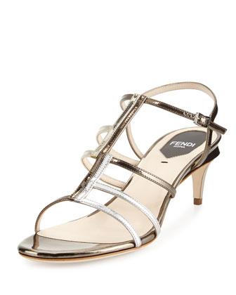 Ladder-Strap Leather Sandal, Argento/Oro/Sepia
