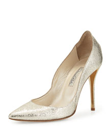 Crinkled Metallic Leather Pump, Silver/Gold