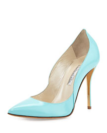 Sabrina Leather Pump, Aqua