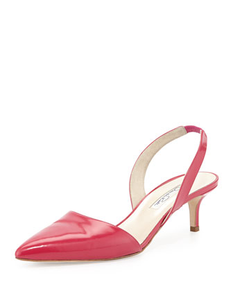 Samie Leather Slingback Pump, Magenta