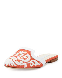 Embroidered Raffia Flat Mule