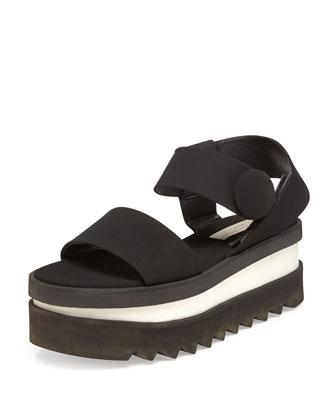Triple Platform Sandal, Noir