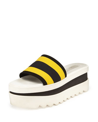 Triple Platform Banded Slide, Yellow/Black