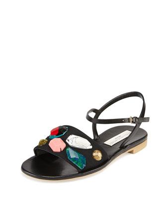 Beaded Ankle-Strap Sandal, Black