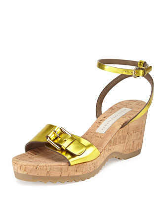 Linda Metallic Wedge Sandal, Steel Citron