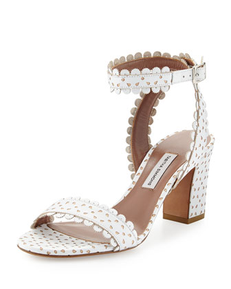 Leticia Scalloped Ankle-Wrap Sandal, White