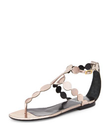 Metallic-Circle Leather Sandal, Champagne