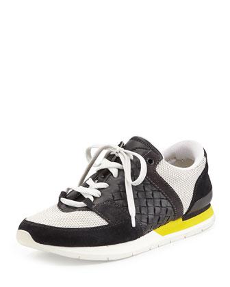 Intrecciato Lace-Up Sneaker, Nero/Bianco/Gray