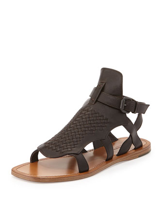 Woven Leather Gladiator Sandal, Espresso