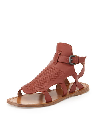 Woven Leather Gladiator Sandal, Burnt Red
