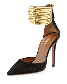 Hello Lover Suede Ankle-Strap Pump, Black