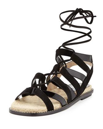 Suede & Patent Espadrille Sandal, Black