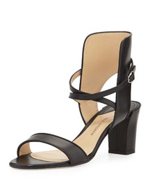Leather Crisscross Ankle-Cuff Sandal, Black