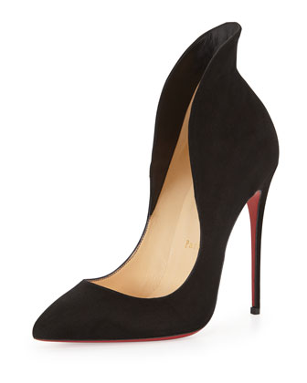 Mea Culpa Flared Suede Red Sole Pump, Black