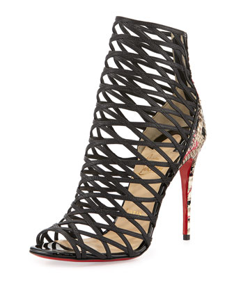 Mille Cinque Python Lattice Red Sole Bootie
