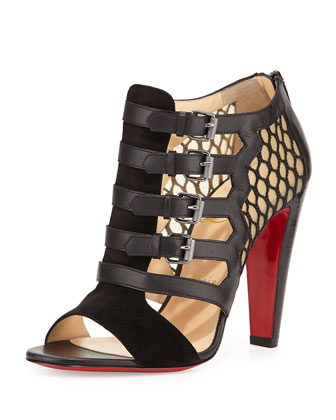 Trotti Leather Open-Toe Red Sole Bootie, Black