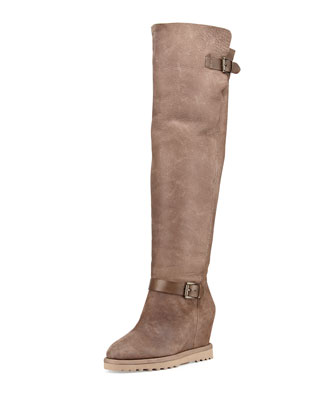 Yuka Shearling-Lined Fold-Over Boot, Topo