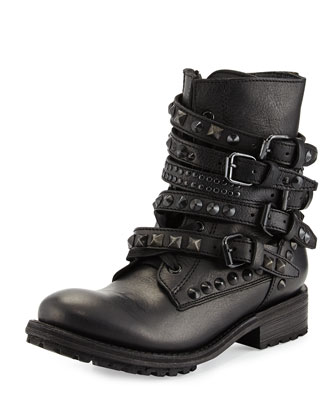 Rebel Studded-Strap Leather Moto Boot, Black/Pavonado