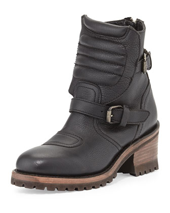 Speed Double-Buckle Leather Moto Boot, Black