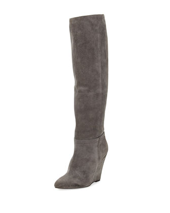 Lucia Suede Wedge Knee Boot