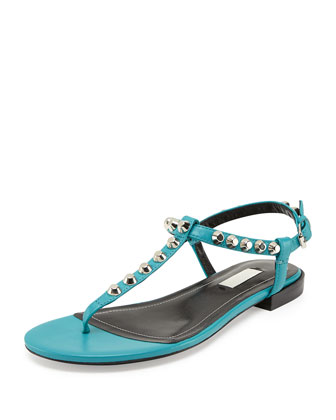 Giant Nickel Studded Thong Sandal, Bleu Caraibe