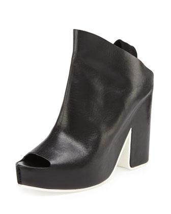 Leather Slingback Sandal, Noir