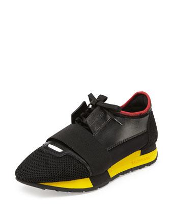 Bi-Color Trainer Sneaker, Rouge