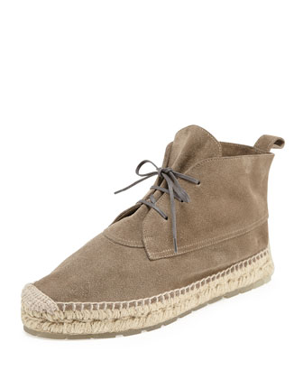 Suede Espadrille Ankle Boot, Gris Galet