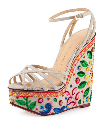Celebration Meredith Embroidered-Wedge Sandal