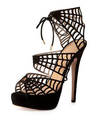 Suede Spider-Web Platform Sandal, Black