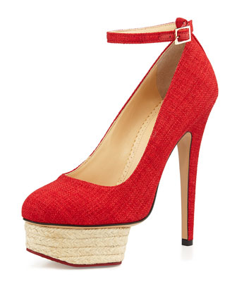 Dolores Platform Espadrille Pump, Red