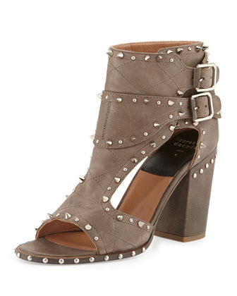 Deric Studded Two-Buckle Sandal, Gray/Silver