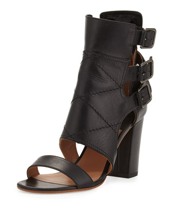 Triple Buckle Leather Bootie, Black