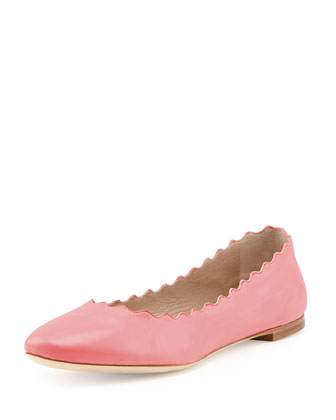 Scalloped Leather Ballerina Flat, Lipstick
