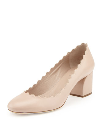 Scalloped Leather Pump, Pink Tea