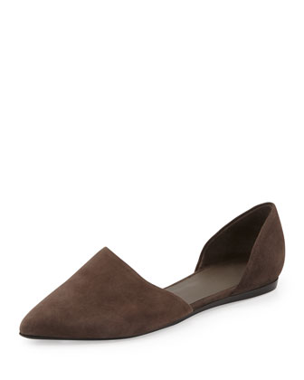 Nina Two-Piece Suede Flat, Umber