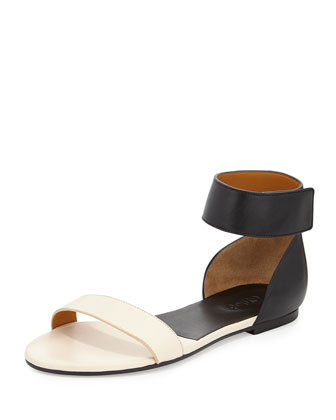 Two-Tone Flat Ankle-Wrap Sandal