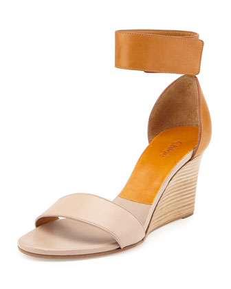 Two-Tone Wedge Sandal, Beige/Brown