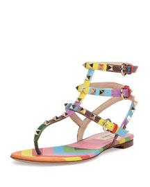 Rockstud Chevron Thong Sandal, Multicolor