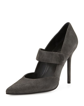 Diploma Suede Mary Jane Pump, Smoke